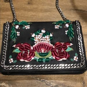 ZARA embroidered 🌹 bag with chain [like Chanel]